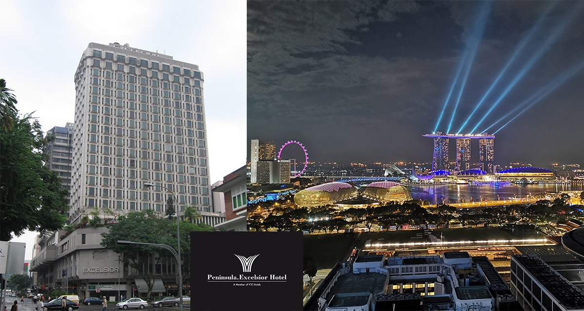 The Hotel Peninsula Excelsior on the left and the view from the sky lounge on the right